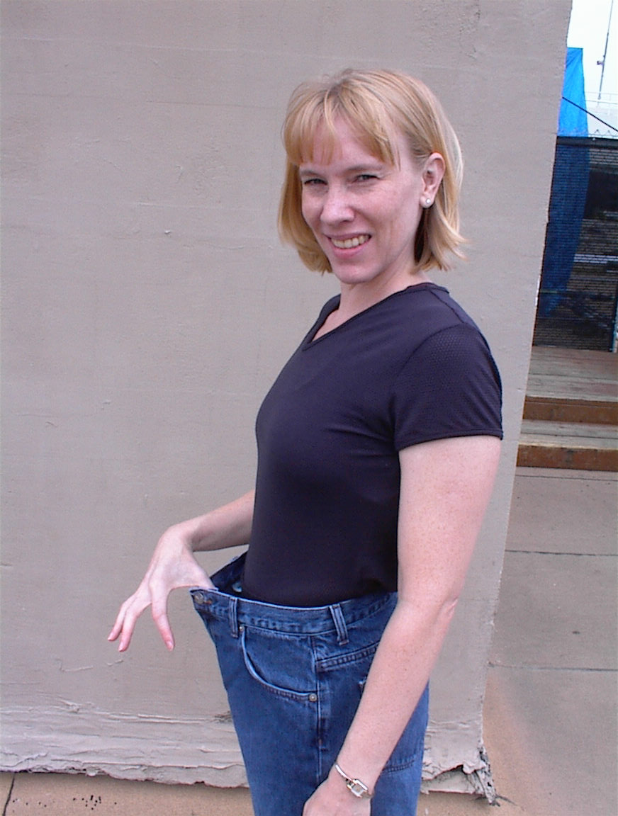 Kathy with before pants on after body