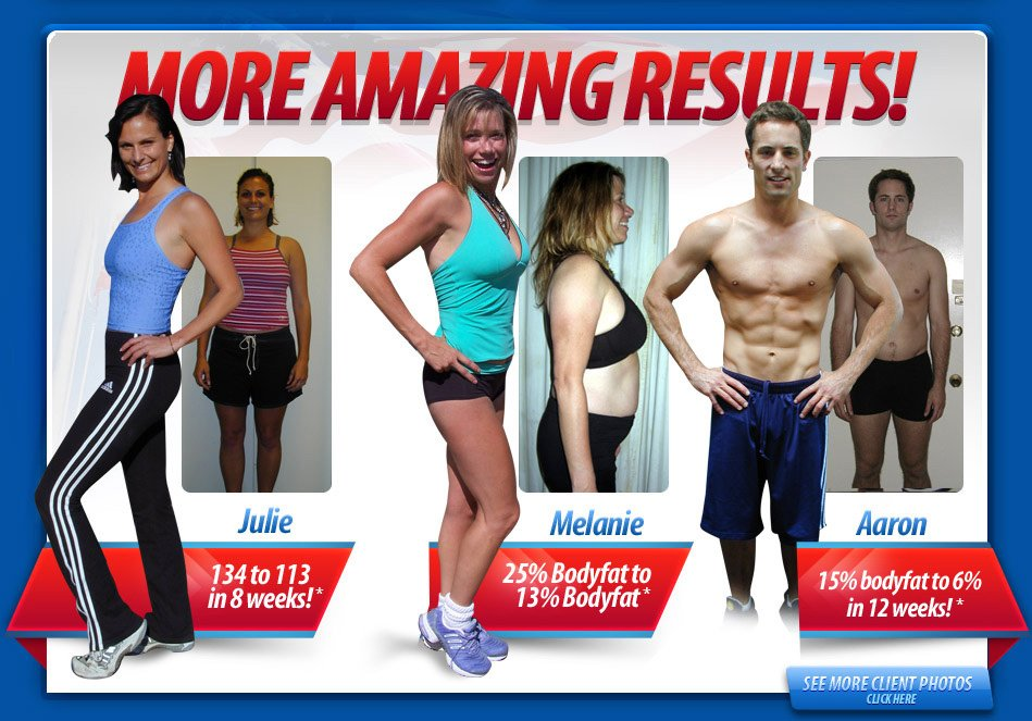MORE AMAZING RESULTS! Julie 134 to 113 in 8 weeks! Melanie 25% Bodyfat to 13% Bodyfat. Aaron 15% bodyfat to 6% in 12 weeks!