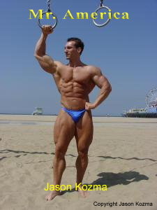 Mr. America Jason Kozma at the beach