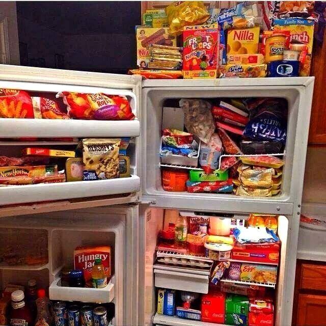 junk food filled refrigerator